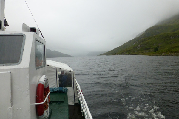 Cruising down Loch Shiel on a misty morning