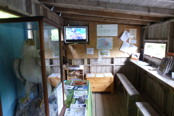 Inside the wooden hide and interpretation centre
