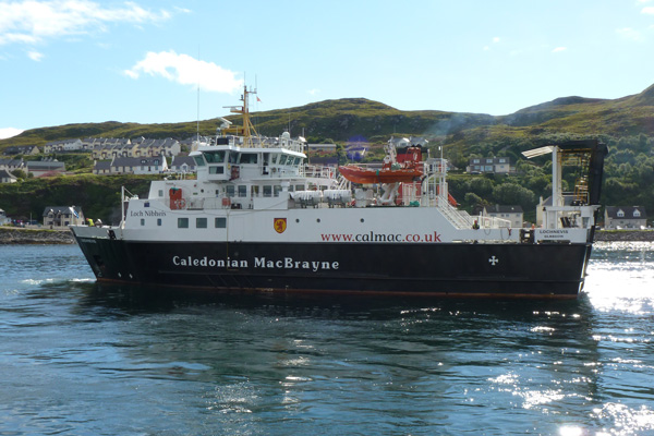 The Calmac ferry leaving Mallaig on the way to Rum