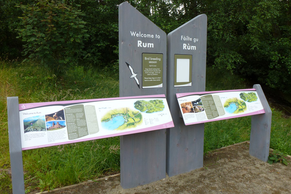 Welcome to Rum - interpretation board detailing walks