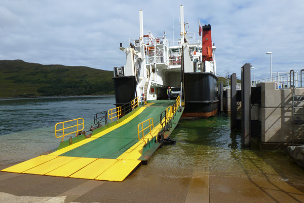 The Calmac ferry offloading at Rum